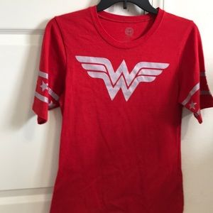 Red Wonder Woman Baseball Sleeve Tee